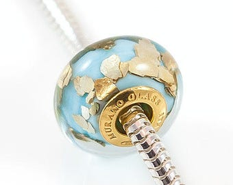 Light blue and gold large hole bead - Murano glass european charm bead - Bracelet bead unique gift for women