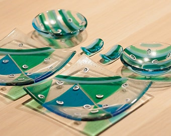 Murano glass unique dinnerware set, Sushi serving set gift for couple engagement, Unique wedding gift for couple teal glassware sushi plates