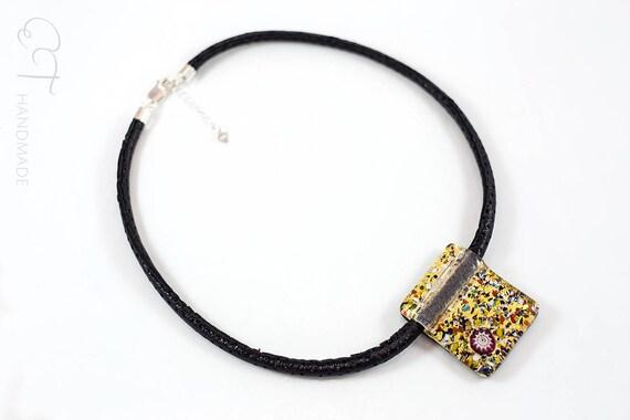 Collana con pendente di vetro di Murano marrone e oro rettangolare VENEZIANA