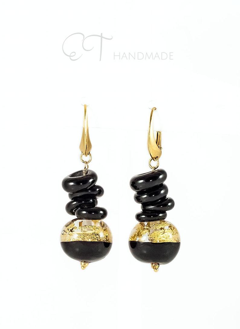 Bronze and Black Circular Handmade Murano Glass Earrings from Venice