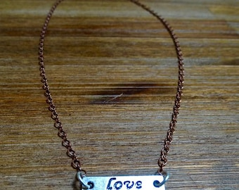 Delicate Copper and Silver LOVE Layering Necklace **CLEARANCE**