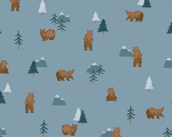 Riley Blake Fabrics -   Camp Woodland Grizzly Bears Denim