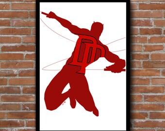 Daredevil minimalist silhouette print - Marvel comics wall art decor poster - comic book nerd gift - add a frame