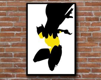 Batman poster print - minimalist silhouette wall art decor DC comics - add a frame
