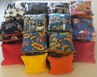 Cornhole Bean Bags - lot of 10 corn toss replacement bags - handmade comic book geeky style super hero