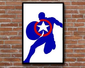 Captain America minimalist silhouette wall art - Marvel comics logo Avengers poster print decor - add a frame