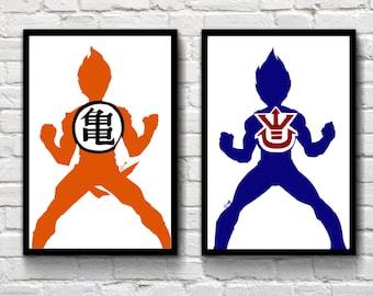 Goku and Vegeta Super Saiyan Dragonball Z set of two anime manga prints - poster wall art decor - can be framed