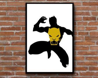 Black Panther silhouette art print - Marvel comics inspired minimalist decor