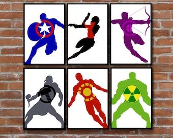 Avengers art silhouette series - Captain America Iron Man Black Widow Hawkeye Thor Hulk (set of 6) wall decor prints - add f...