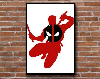 Deadpool inspired silhouette art - Marvel comics comic book poster - anti-hero superhero