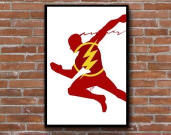 The Flash wall decor - minimalist silhouette art print poster - DC comics - geek nerd wall art