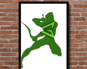 Green Arrow minimalist silhouette print - DC comics poster wall art decor - nerdy comic book geek art - add a frame