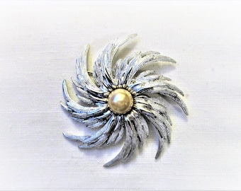 50afa044c Vintage 1960s Sarah Coventry 1962 Pinwheel. Silver tone and faux pearl  brooch. Signed Sarah Cov. Measures 3
