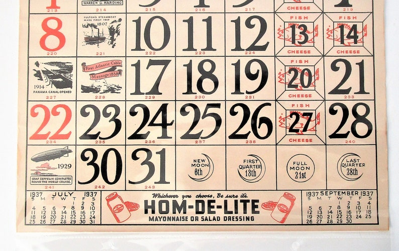 12 by 10 Historic and graphic August 1937 in plastic sleeve Produced by the American Stores 1930s Paper Wall Calendar