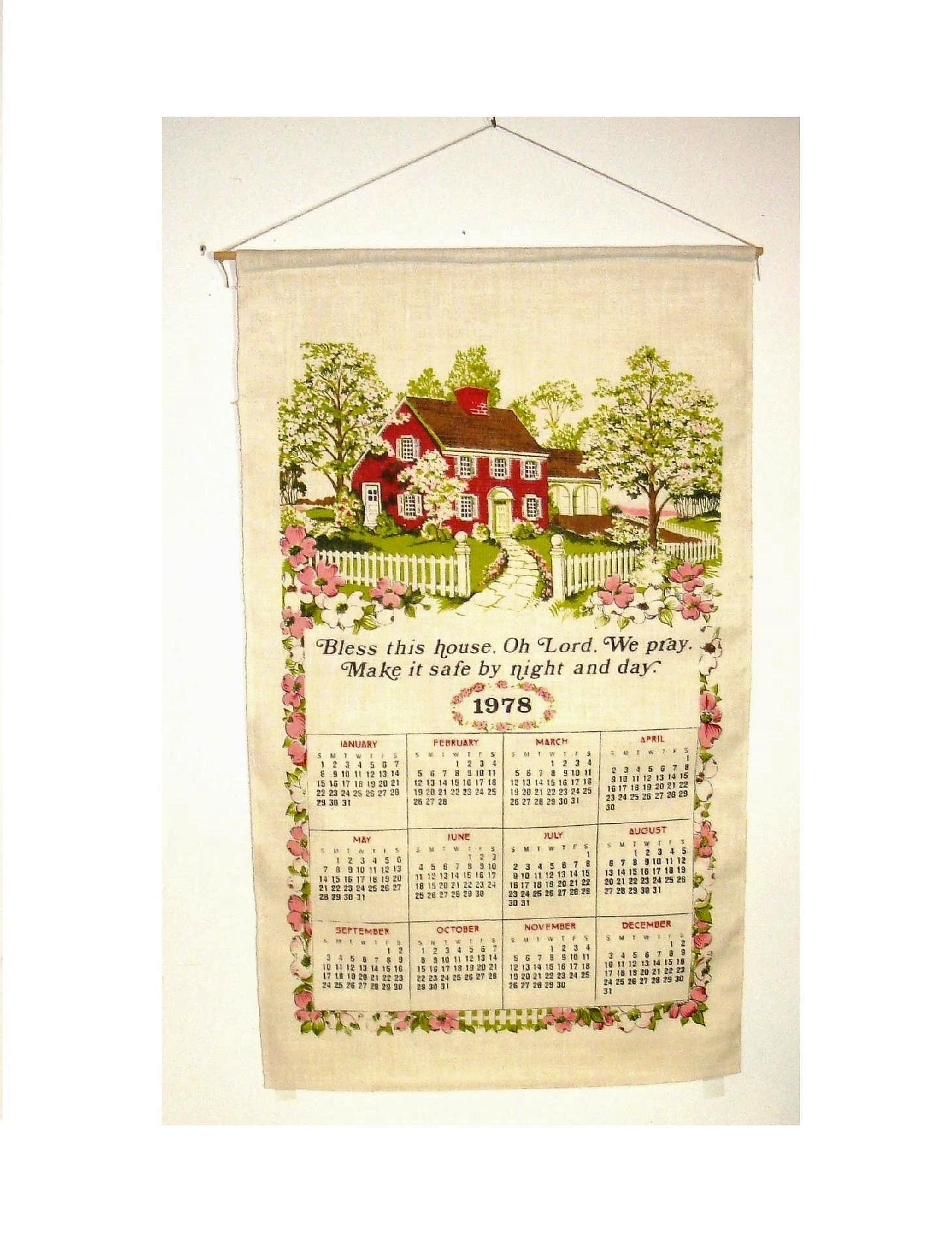 1978 Calendar September.1978 Linen Wall Calendar Bless This House 16 By 25 New Old Stock Still In The Packaging Old Country Farm House With White Picket Fence