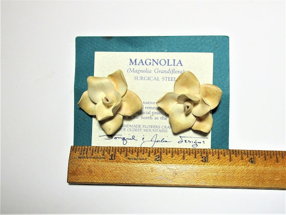 Handmade Polymer Clay Post Earrings. Magnolia flow