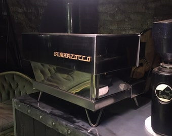 Vintage 80's La Marzocco 2 Group Espresso Machine Fully Restored Stainless Steel Olivewood Burl Mid Century Style