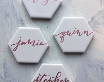 Handwritten tile place cards calligraphy tile