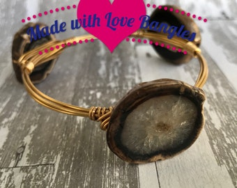 Wire Wrapped Three Stone Bangle Bracelet• Geode Druzy Gemstone Bangle Bracelet• Black Polished Stone *Bourbon and Boweties Inspired*