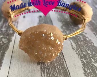 Three Stone Wire Wrapped Bangle Bracelet. Champagne Peach Druzy Stone Gemstone Bangle *Bourbon and Boweties Inspired*