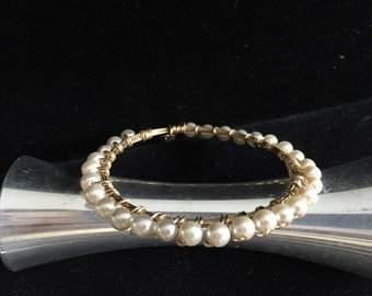 Wire Wrapped Pearl Bangle Bracelet
