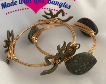 Three Stone Wire Wrapped Bangle Bracelet. Multi Color Jasper Stone Gemstone Bangle Deer Head Bangle  Set of 2 *Bourbon and Boweties Inspired