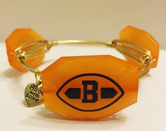 Cleveland Browns Wire Wrapped Bangle Bracelet Game Day Bangle Bracelet football bangle