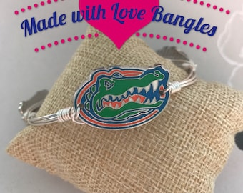 University of Florida Gator Wire Wrapped Bangle Bracelet Silver Gator Bangle