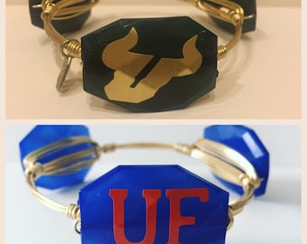 University of Florida Gator or USF Bulls  Wire Wrapped Bangle Bracelet