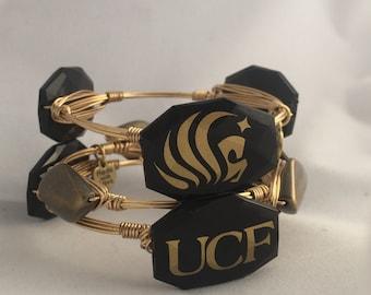 UCF Knights Wire Wrapped Bangle Bracelet Set   Of 3 University of Central Florida Knight Game Day Bangle Bracelets