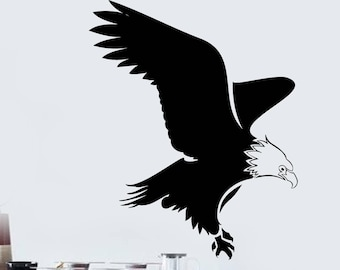 Wall Vinyl Decal Flight Eagle Bird Silhouette Wingspan Modern Decor for Living Room  (#2459dn)
