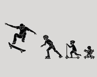 Boy Evolution Vinyl Wall Decal Extreme Sports Teenage Teen Room Art Stickers Mural (#2786di)