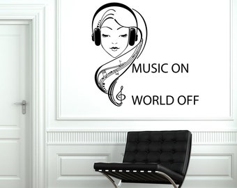 Wall Vinyl Decal Music On World Off Quote Teenage Girl In Etsy