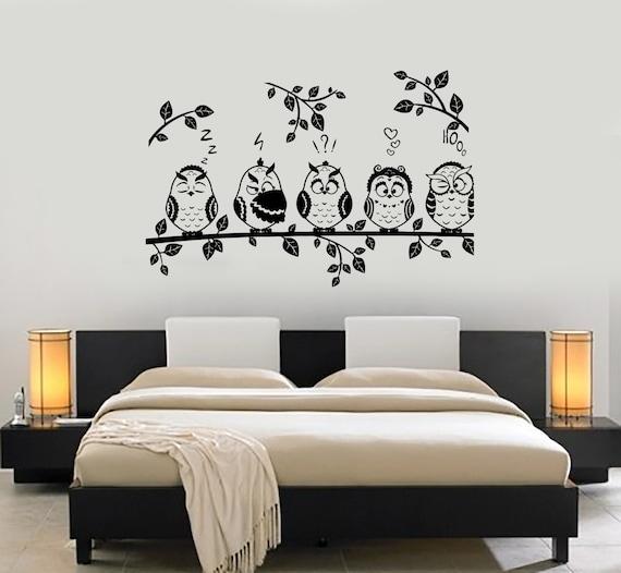 Wall Decal Tree Branch Owl Birds Vinyl Sticker Mural Art | Etsy