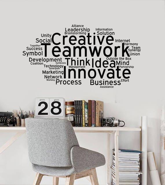 Creative teamwork vinyl wall decal team work office art decor
