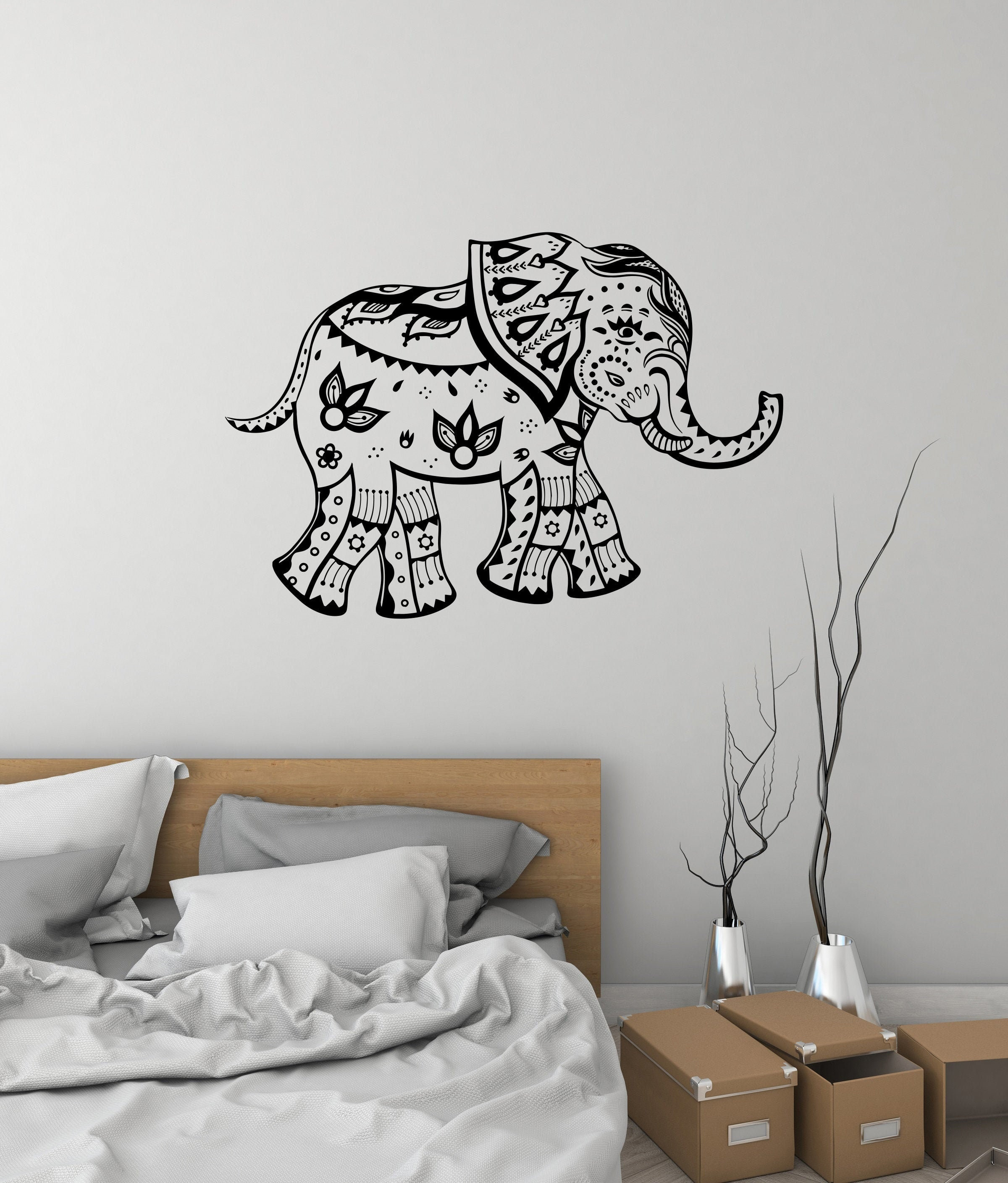 Indian Elephant Vinyl Wall Decal Animal India Living Room Bedroom Stickers Mural 3119di