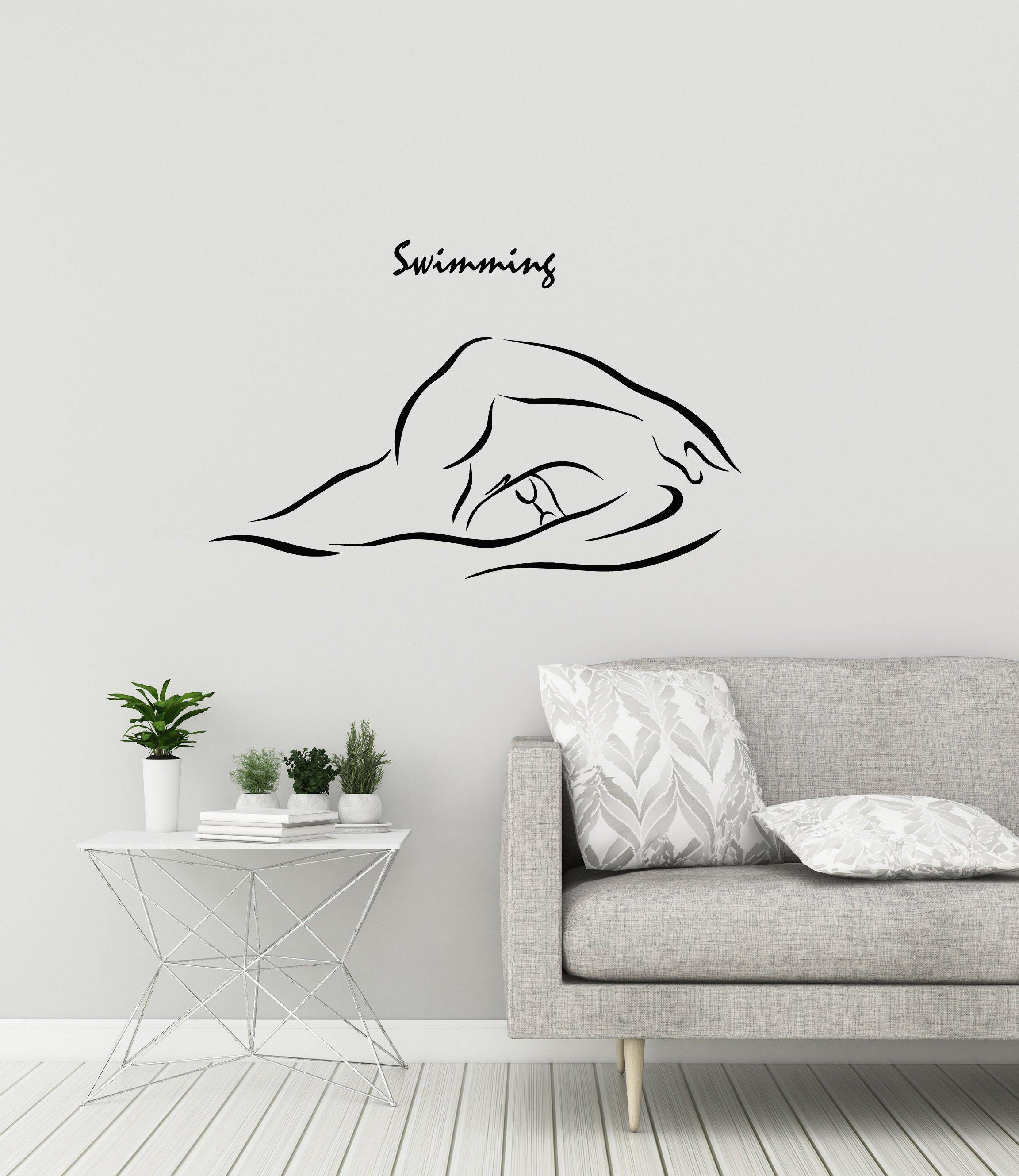 Swimmer Vinyl Wall Decal Swimming Pool Swim Sports School Gym