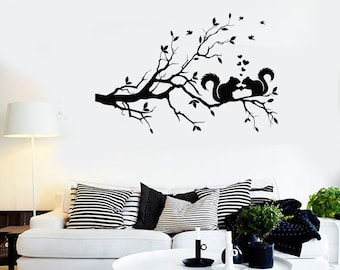 Wall Vinyl Decal Tree Branch Squirrel Forest Nature Decor 2360di
