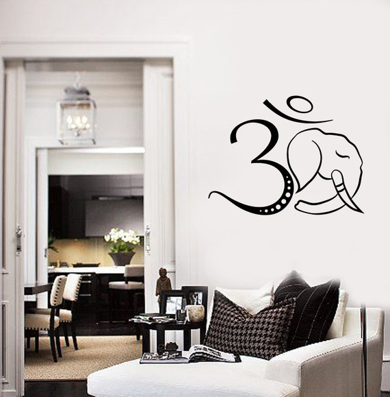 Om Symbol Vinyl Wall Decal Ganesha Hinduism God Elephant Etsy