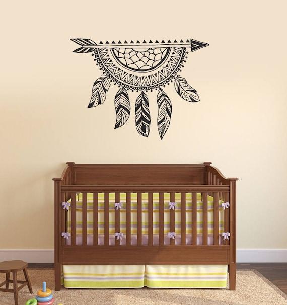 Dreamcatcher Vinyl muur Decal pijl veren slaapkamer decoratie | Etsy