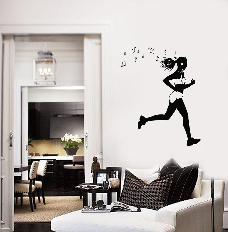 #2811di Running Girl Vinyl Wall Decal Runner Music Headphones Run Stickers Mural