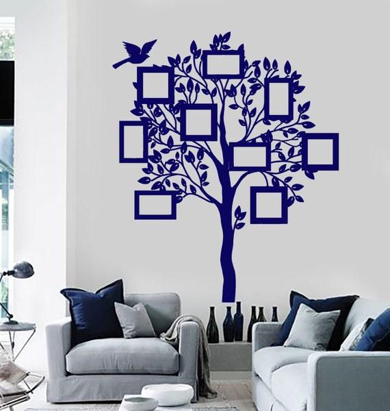 Pared vinilo Decal árbol Rectangular marcos en ramas de árbol | Etsy
