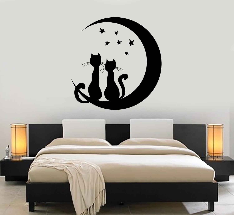 Wall Vinyl Moon Stars Cat Romantic Night Decor For Bedroom