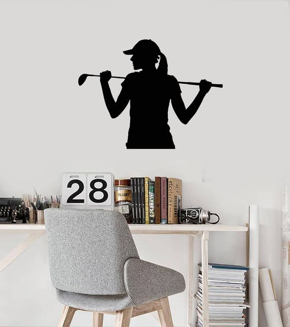 Golf Girl Vinyl Wall Decal Silhouette Woman Golfer Player Club Etsy