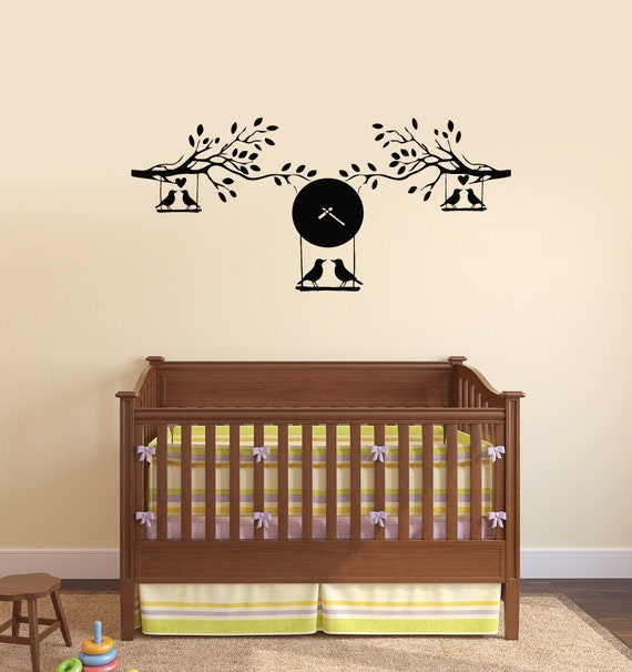 nursery vinyl wall decal branches birds clock kids room decor | etsy