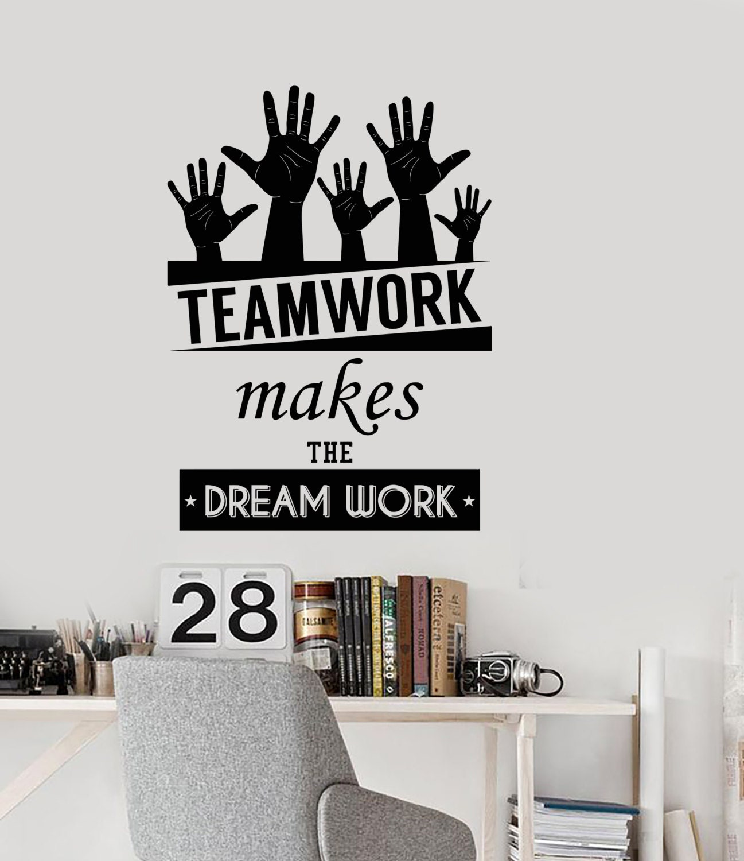 Wand Vinyl Aufkleber Office Space inspirierende Worte Team | Etsy
