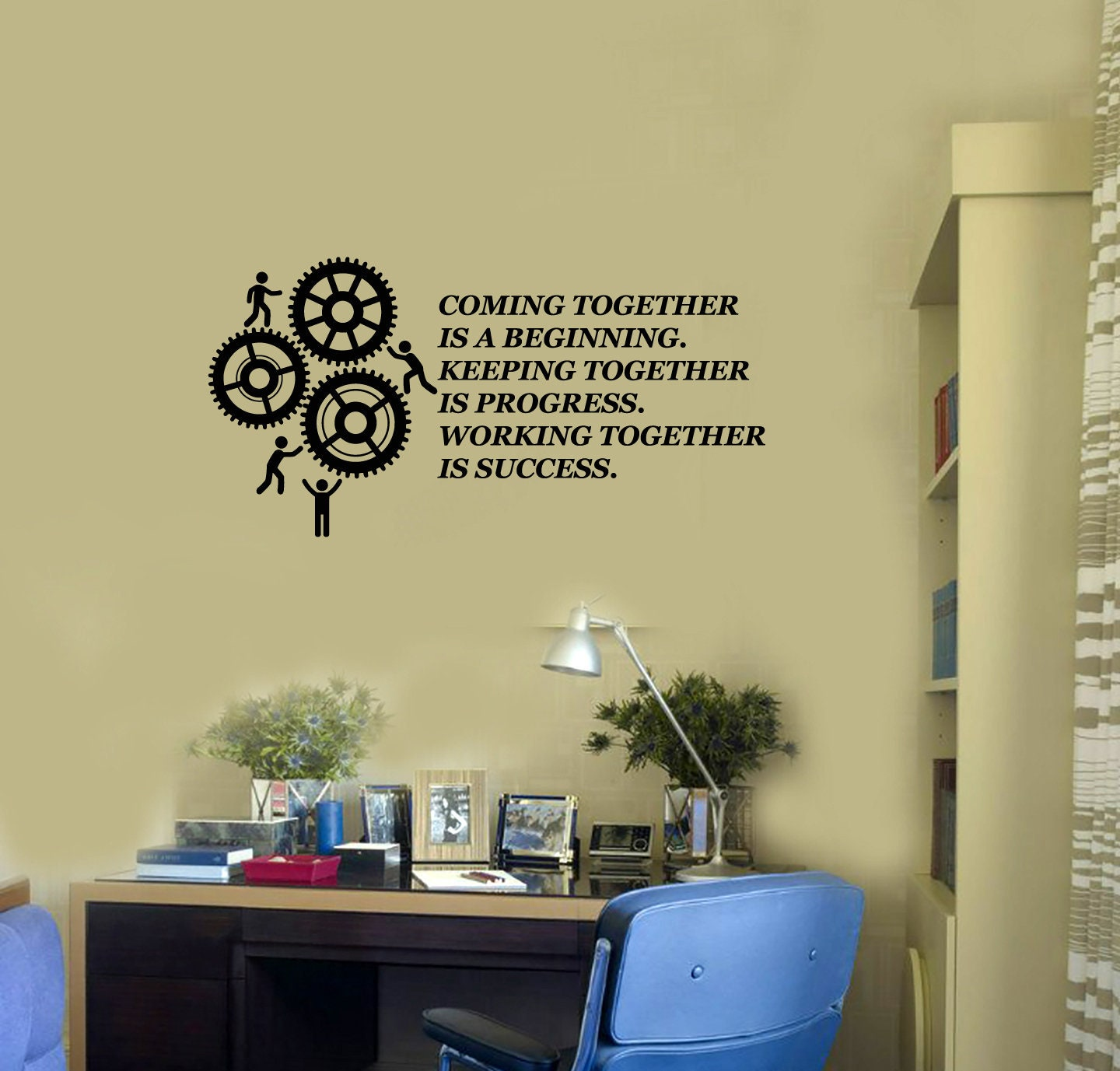 Teamwork Vinyl Wall Decal Quote Gears Team Office Space Decor | Etsy