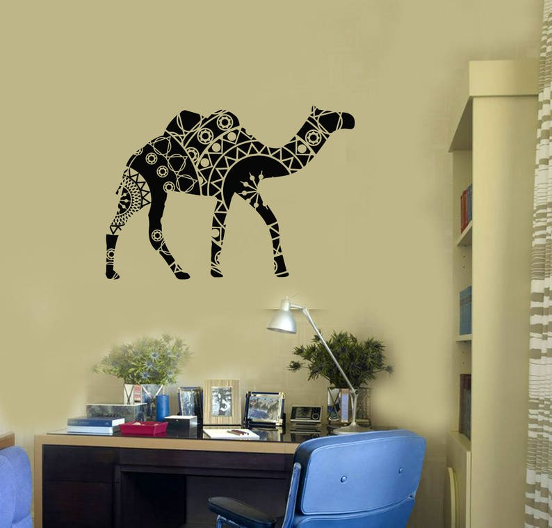 Camel Vinyl Wall Decal Tribal Animal Ornament Pattern Decor Living Room  Stickers Mural (#2717di)