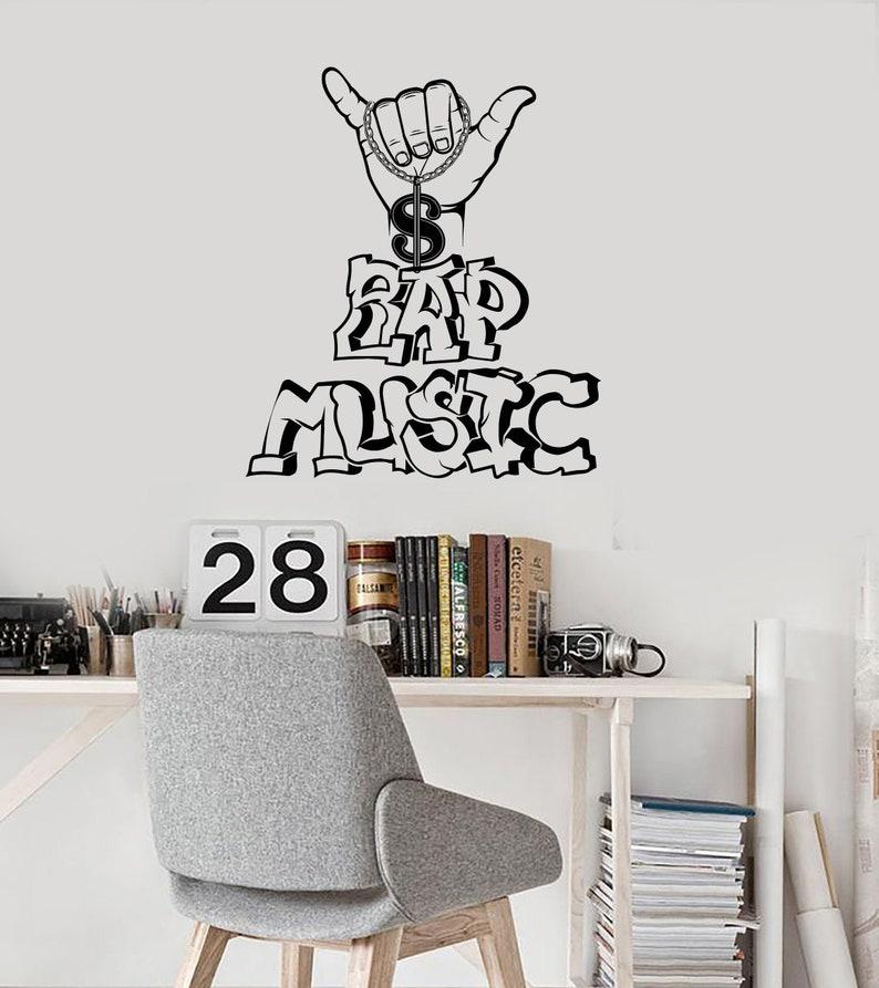 Rap Music Vinyl Wall Decal Rapper Words Musical Room Decor Idea Stickers  Mural (#3126di)