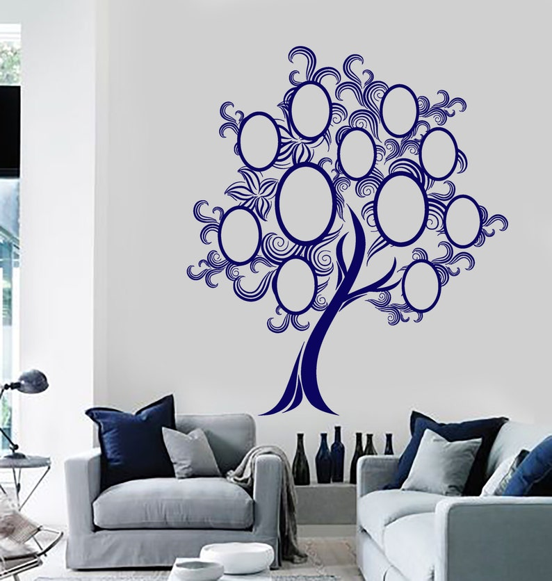 Wall Vinyl Decal Family Tree with Oval Picture Frames on Tree Branches  Genealogy Modern Home Decor (#1152dz)